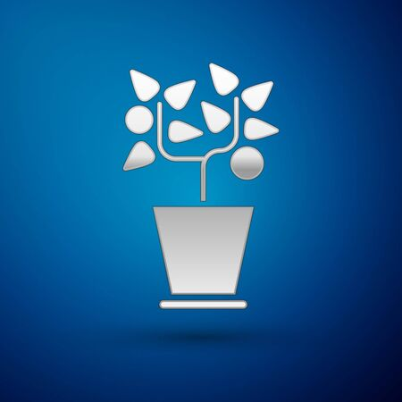 Silver Plant in pot icon isolated on blue background. Plant growing in a pot. Potted plant sign. Vector Illustration