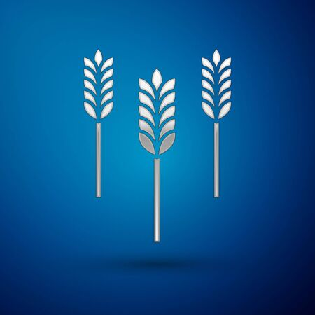 Silver Cereals set with rice, wheat, corn, oats, rye, barley icon isolated on blue background. Ears of wheat bread symbols. Vector Illustration