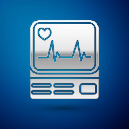 Silver Computer monitor with cardiogram icon isolated on blue background. Monitoring icon. ECG monitor with heart beat hand drawn. Vector Illustration