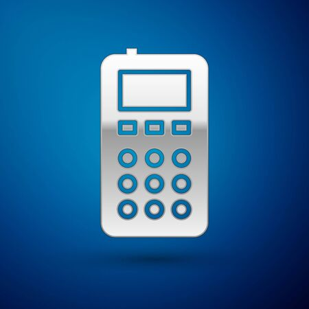 Silver Remote control icon isolated on blue background. Vector Illustration