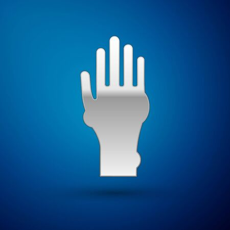 Silver Hand with psoriasis or eczema icon isolated on blue background. Concept of human skin response to allergen or chronic body problem. Vector Illustration Illustration