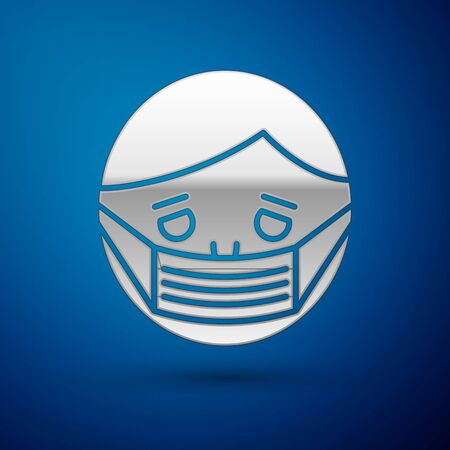 Silver Man face in a medical protective mask icon isolated on blue background. Quarantine. Vector Illustration