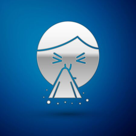 Silver Man holding handkerchief or napkin to his runny nose icon isolated on blue background. Coryza desease symptoms. Vector Illustration