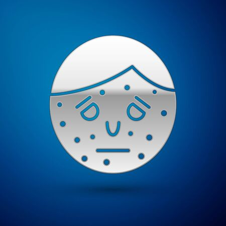 Silver Face with psoriasis or eczema icon isolated on blue background. Concept of human skin response to allergen or chronic body problem. Vector Illustration Illustration