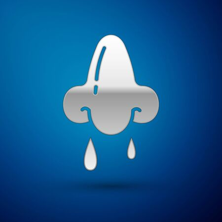 Silver Runny nose icon isolated on blue background. Rhinitis symptoms, treatment. Nose and sneezing. Nasal diseases. Vector Illustration Illustration