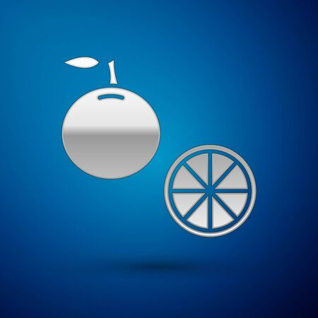 Silver Orange fruit icon isolated on blue background. Vector Illustration