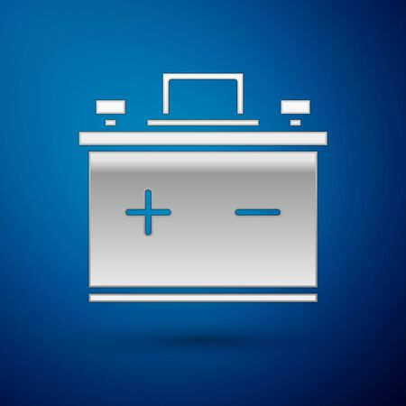 Silver Car battery icon isolated on blue background. Accumulator battery energy power and electricity accumulator battery. Vector Illustration Çizim