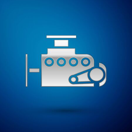 Silver Car engine icon isolated on blue background. Vector Illustration