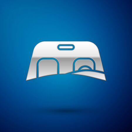 Silver Car windscreen icon isolated on blue background. Vector Illustration