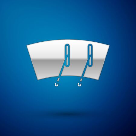 Silver Windscreen wiper icon isolated on blue background. Vector Illustration