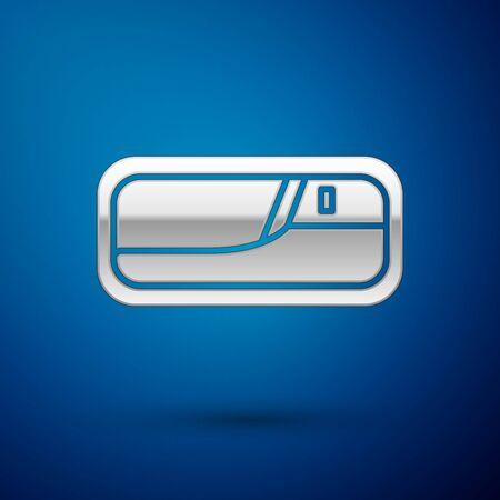 Silver Car door handle icon isolated on blue background. Vector Illustration Standard-Bild - 138383508
