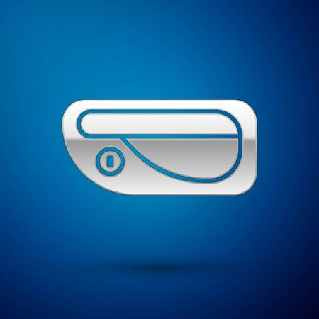 Silver Car door handle icon isolated on blue background. Vector Illustration Standard-Bild - 138391197