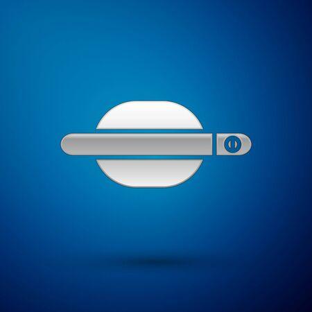 Silver Car door handle icon isolated on blue background. Vector Illustration Standard-Bild - 138382322