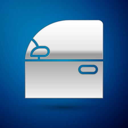 Silver Car door icon isolated on blue background. Vector Illustration