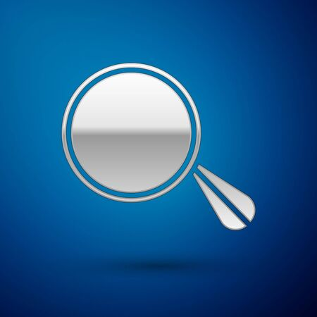 Silver Car mirror icon isolated on blue background. Vector Illustration  イラスト・ベクター素材