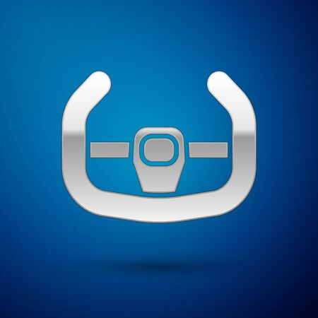 Silver Sport steering wheel icon isolated on blue background. Car wheel icon. Vector Illustration