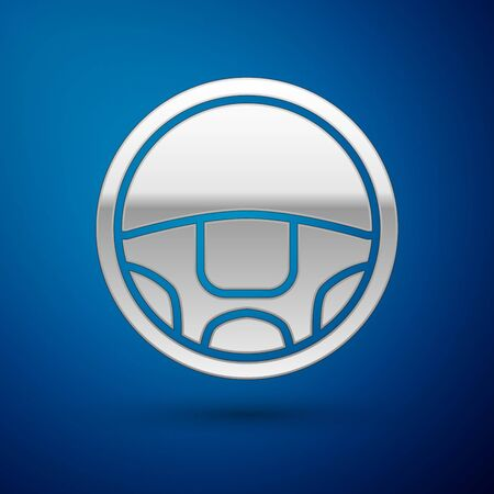 Silver Steering wheel icon isolated on blue background. Car wheel icon. Vector Illustration  イラスト・ベクター素材