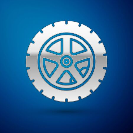Silver Car wheel icon isolated on blue background. Vector Illustration