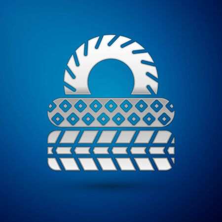 Silver Car tire icon isolated on blue background. Vector Illustration