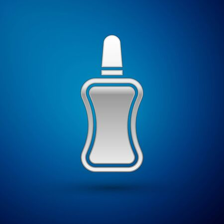 Silver Nail polish bottle icon isolated on blue background. Vector Illustration Иллюстрация