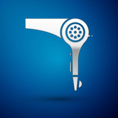 Silver Hair dryer icon isolated on blue background. Hairdryer sign. Hair drying symbol. Blowing hot air. Vector Illustration 矢量图像