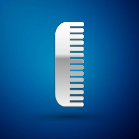 Silver Hairbrush icon isolated on blue background. Comb hair sign. Barber symbol. Vector Illustration Иллюстрация