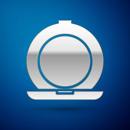 Silver Makeup powder with mirror icon isolated on blue background. Vector Illustration