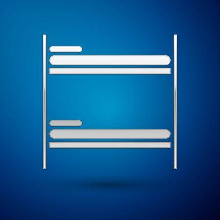 Silver Bunk bed icon isolated on blue background. Vector Illustration Ilustração