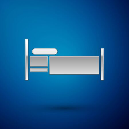 Silver Bed icon isolated on blue background. Vector Illustration