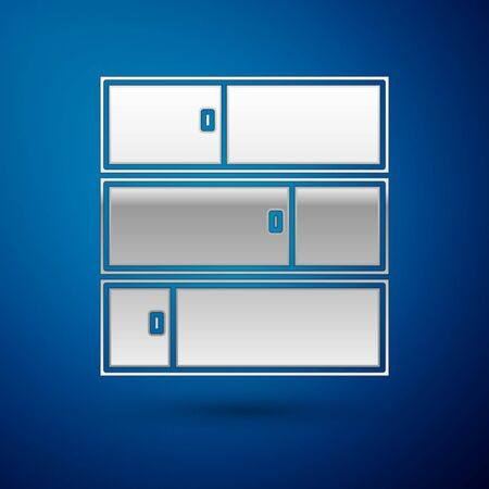 Silver Shelf icon isolated on blue background. Shelves sign. Vector Illustration Ilustracja