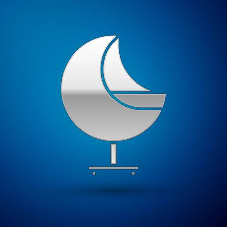 Silver Armchair icon isolated on blue background. Vector Illustration