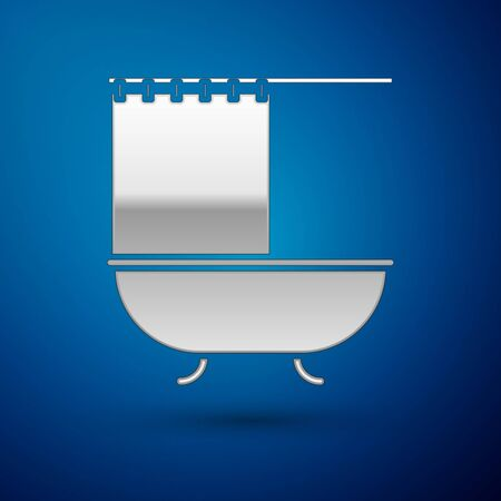Silver Bathtub with open shower curtain icon isolated on blue background. Vector Illustration