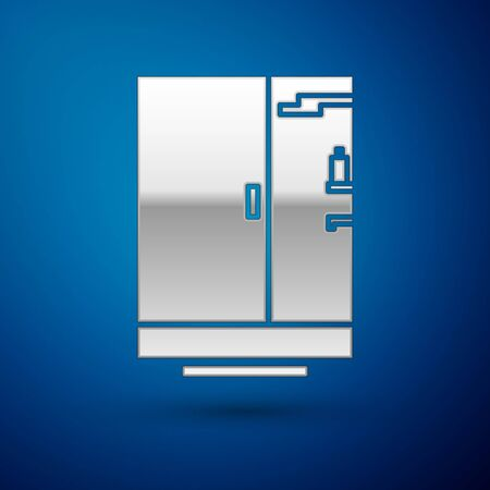 Silver Shower cabin icon isolated on blue background. Vector Illustration