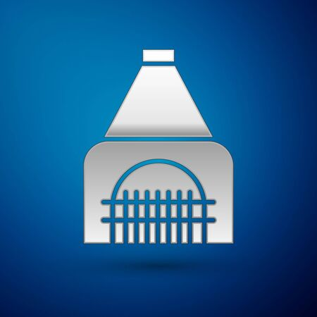 Silver Interior fireplace icon isolated on blue background. Vector Illustration Illustration