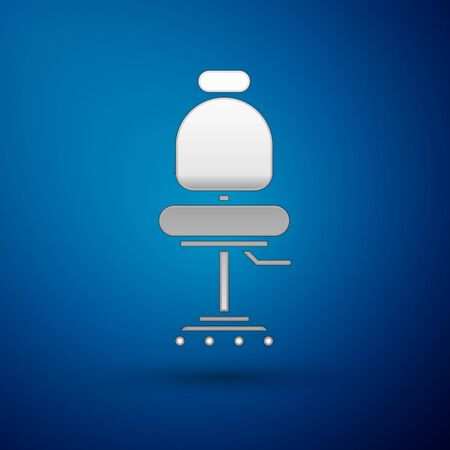 Silver Office chair icon isolated on blue background. Vector Illustration