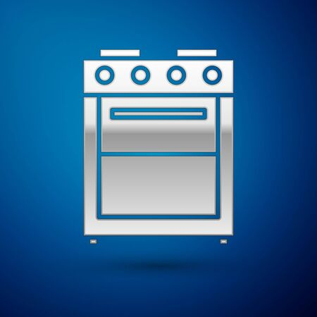 Silver Oven icon isolated on blue background. Stove gas oven sign. Vector Illustration
