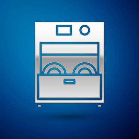 Silver Kitchen dishwasher machine icon isolated on blue background. Vector Illustration Illustration