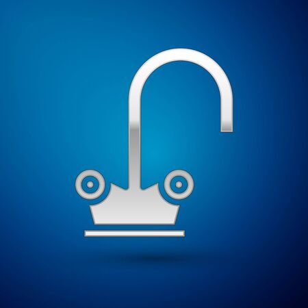 Silver Water tap icon isolated on blue background. Vector Illustration