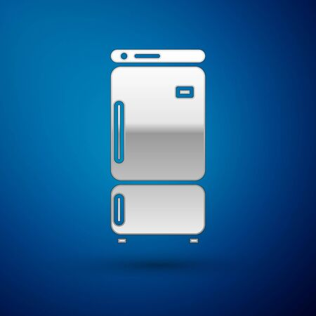 Silver Refrigerator icon isolated on blue background. Fridge freezer refrigerator. Household tech and appliances. Vector Illustration Ilustrace