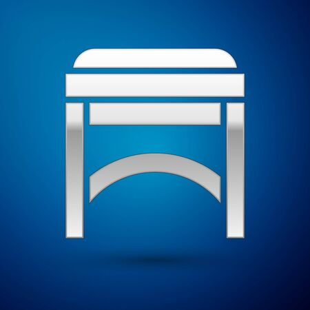 Silver Chair icon isolated on blue background. Vector Illustration