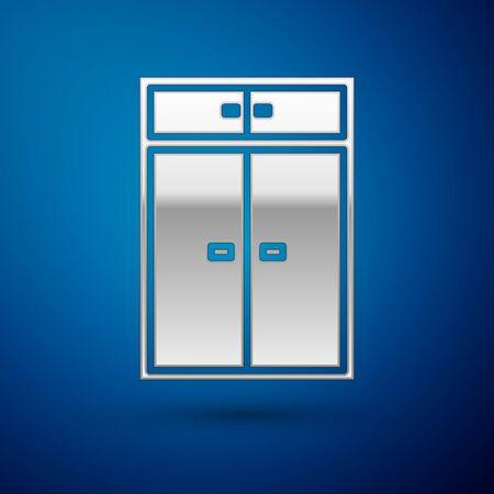 Silver Wardrobe icon isolated on blue background. Vector Illustration Ilustração