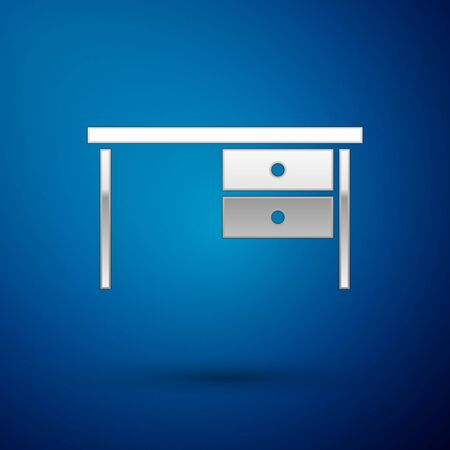 Silver Office desk icon isolated on blue background. Vector Illustration Ilustração