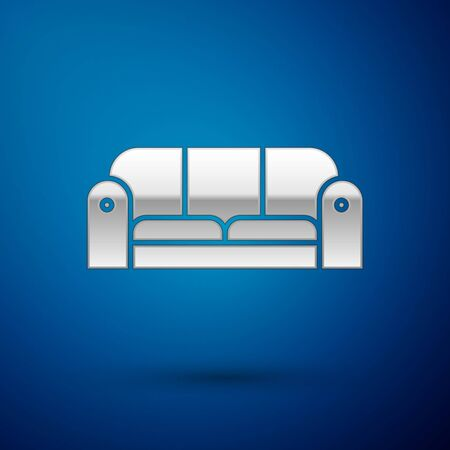 Silver Sofa icon isolated on blue background. Vector Illustration