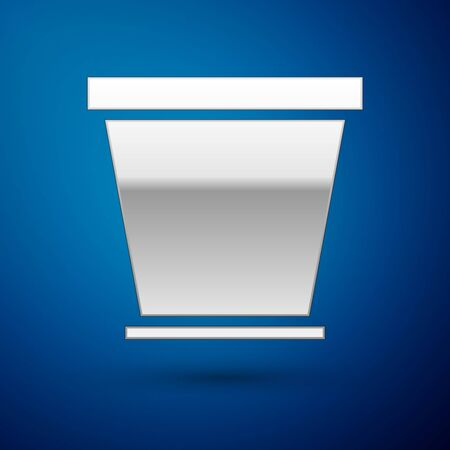 Silver Flower pot icon isolated on blue background. Vector Illustration