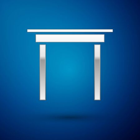 Silver Wooden table icon isolated on blue background. Vector Illustration Ilustrace