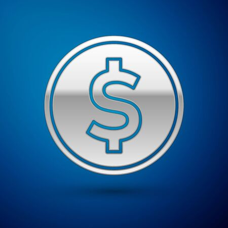 Silver Coin money with dollar symbol icon isolated on blue background. Banking currency sign. Cash symbol. Vector Illustration