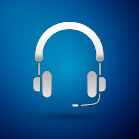 Silver Headphones icon isolated on blue background. Earphones. Concept for listening to music, service, communication and operator. Vector Illustration