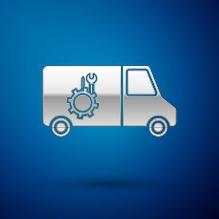 Silver Car service icon isolated on blue background. Repair service auto mechanic. Maintenance sign. Vector Illustration Standard-Bild - 138384048
