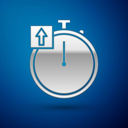 Silver Stopwatch icon isolated on blue background. Time timer sign. Chronometer sign. Vector Illustration