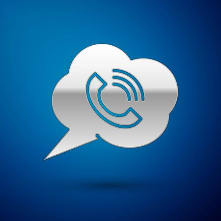 Silver Speech bubble with phone call icon isolated on blue background. Vector Illustration Çizim